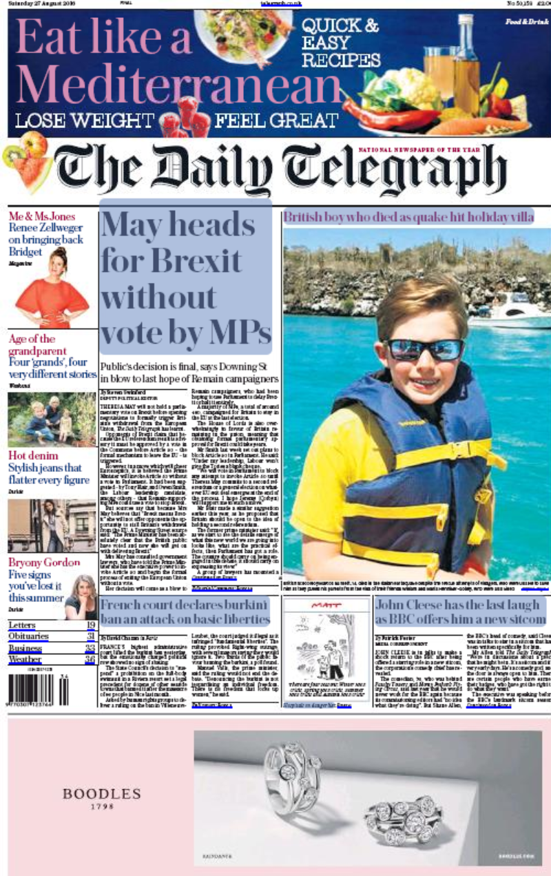 Telegraph 27 8 16 Cover